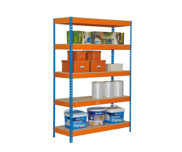 Estantería metálica sin tornillos media carga KIT BRICOFORTE CHIPBOARD 1006-5 AZUL/NARANJA